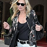 Kate Moss in an embroidered silk jacket.