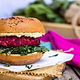 Roasted Beet and Chickpea Burgers With Crispy Kale and Tahini Sauce