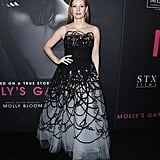 She wore an Oscar de la Renta gown to the NY premiere of Oscar Molly's Game in 2017.