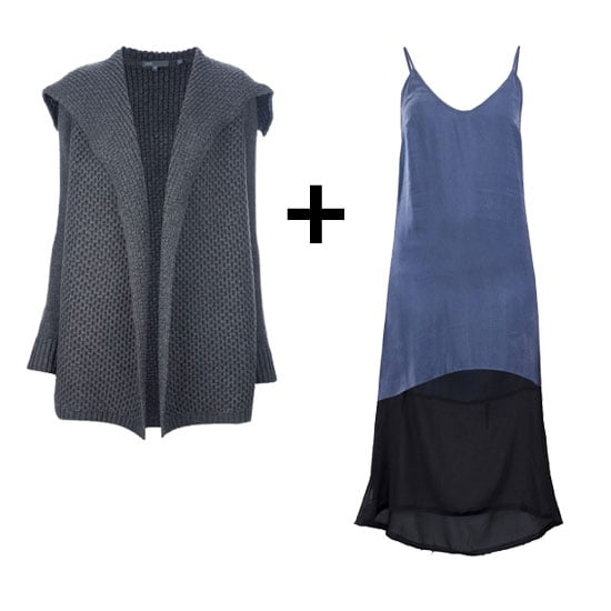 Play with contrasting textures in complementary hues. A chunky gray knit pairs perfectly with this blue, colorblocked silky slip dress.  Vince Oversize Collar Cardigan ($589) Enza Costa Slip Dress ($215)