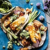 Roasted Cauliflower Fried Halloumi Tacos With Spicy Avocado Basil Salsa