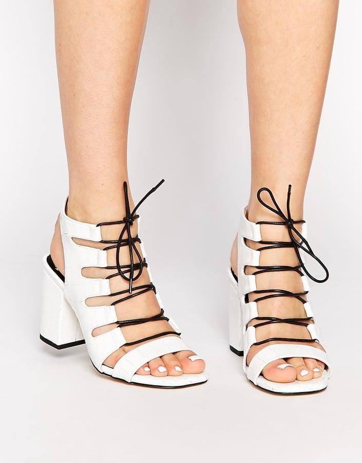 Senso Rhiannon White Leather Croc Heeled Sandals ($290)