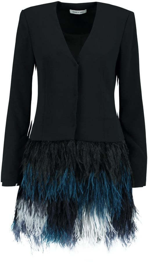 Elizabeth and James Brixton Feather-Trimmed Crepe Mini Dress ($695)
