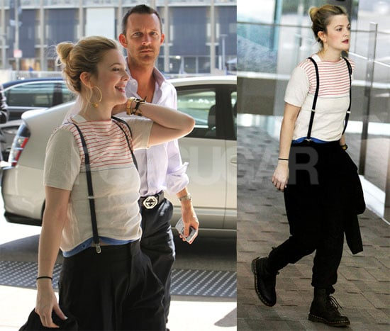 Photos of Drew Barrymore in LA Wearing Suspenders