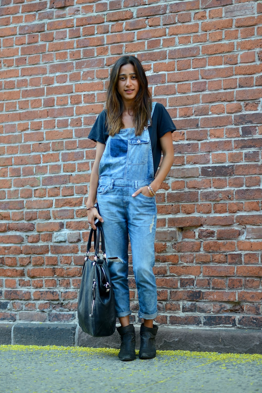 Make your denim days count with overalls — note: ankle booties and a basic tee make them entirely wearable.  Source: Le 21ème   Adam Katz Sinding