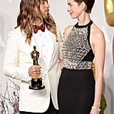 Hathaway and Leto shared an adorable look.