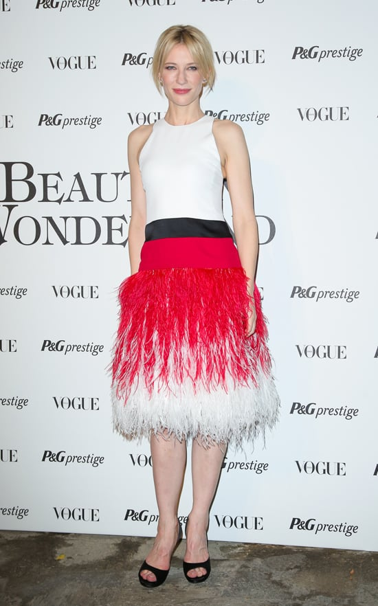 When Cate Blanchett and Prabal Gurung meet, the result is nothing short of fabulous. The actress pulled off a flirty feathery dress from the designer at a Milan Fashion Week soiree.