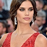 Sara Sampiano Styled a Pair of Geometric Diamond Earrings With a Red Zuhair Murad Couture Gown
