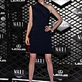 Coco Rocha struck a pose on the red carpet at Lexus's Fashion Week event on Thursday night.
