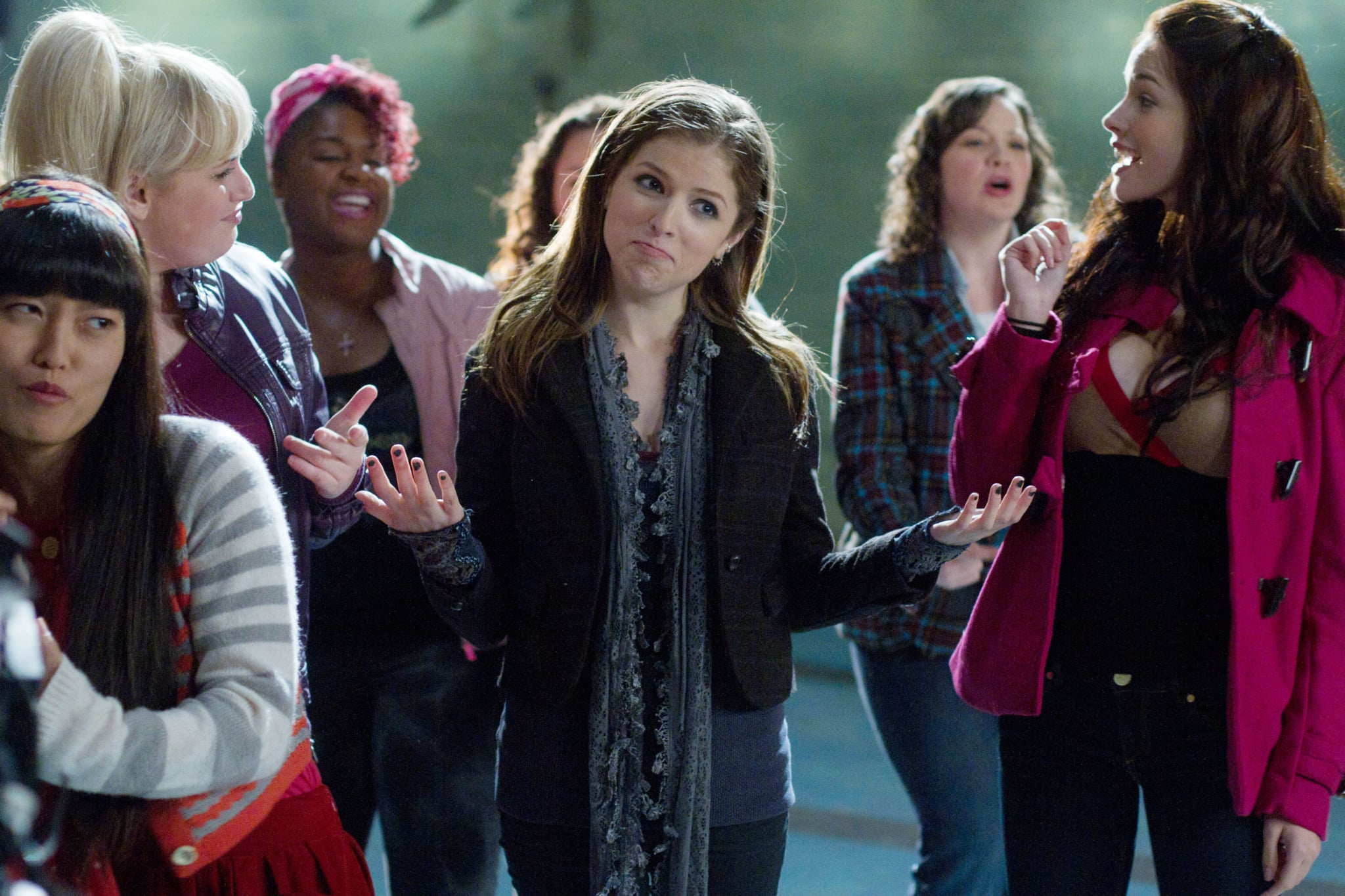 PITCH PERFECT, Hana Mae Lee (left), Rebel Wilson (blonde, left), Ester Dean (pink hair), Anna Kendrick (center), 2012. ph: Peter Iovino/Universal Pictures/Courtesy Everett Collection