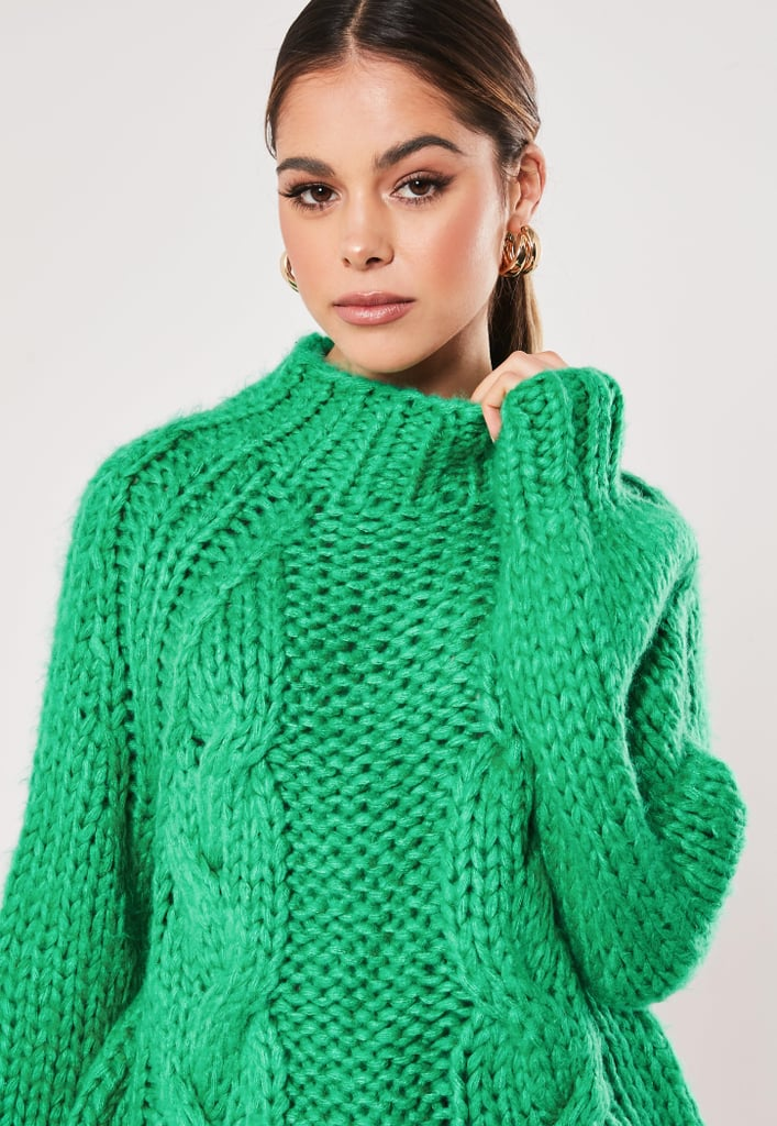 Missguided Premium Green Funnel Neck Knitted Jumper