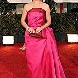 Natalie Portman smiled in her Lanvin dress at the 2012 Golden Globe Awards.