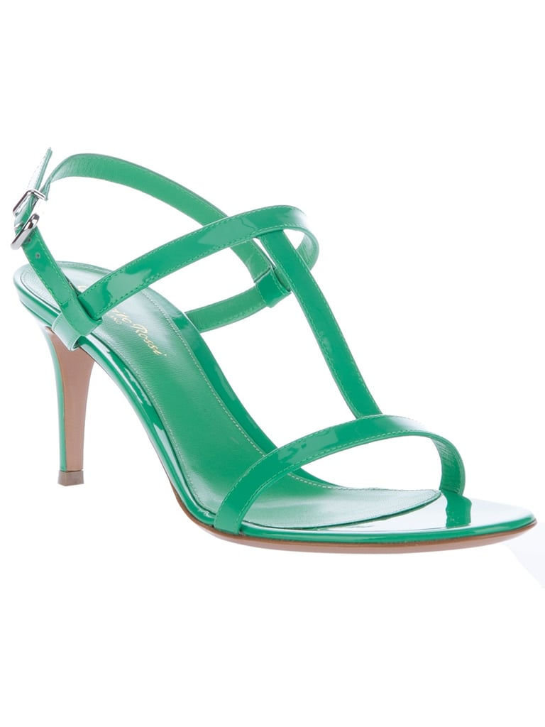 We love the bold kelly green hue of these patent leather heels. Gianvito Rossi T-Bar Sandal ($589)