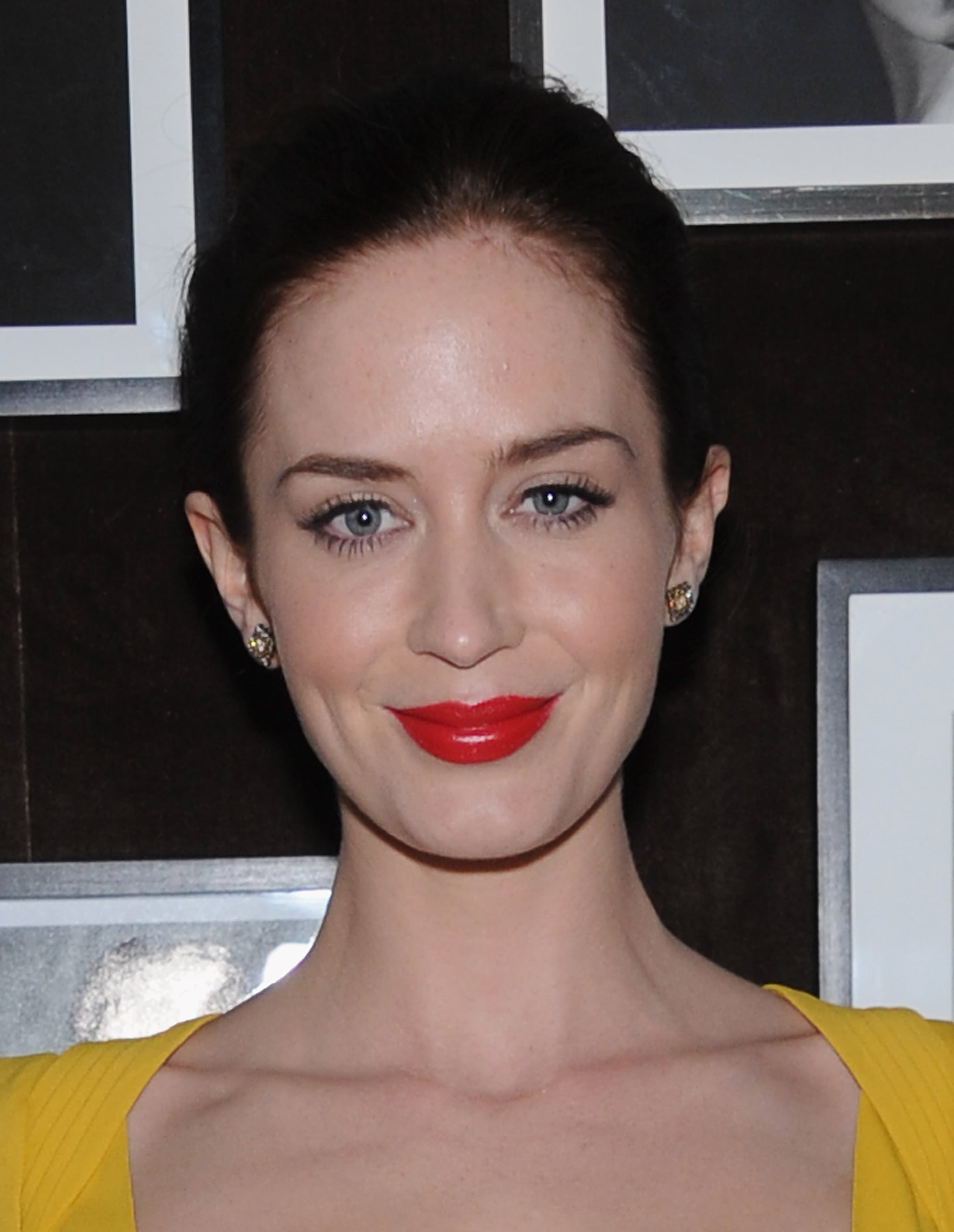 Emily Blunt wore her hair back to a private dinner for Elie Saab in NYC.