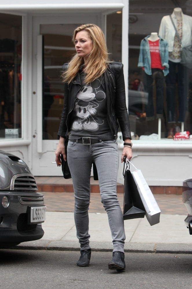 Kate Moss got her shop on yesterday afternoon in London at an outpost of Zadig & Voltaire. It seems the store was a pit stop on her way to a birthday party, as Kate was seen browsing the racks with a wrapped present in her hands. She spent the day with pals after a busy week with her fiancé Jamie Hince. The engaged duo took a quick trip to France before returning to England for one of his shows with The Kills.