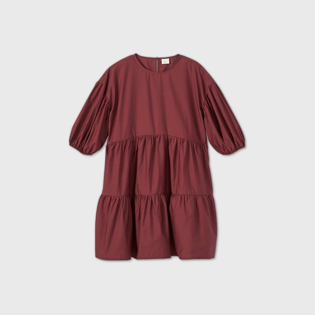 Puff Short Sleeve Tiered Dress