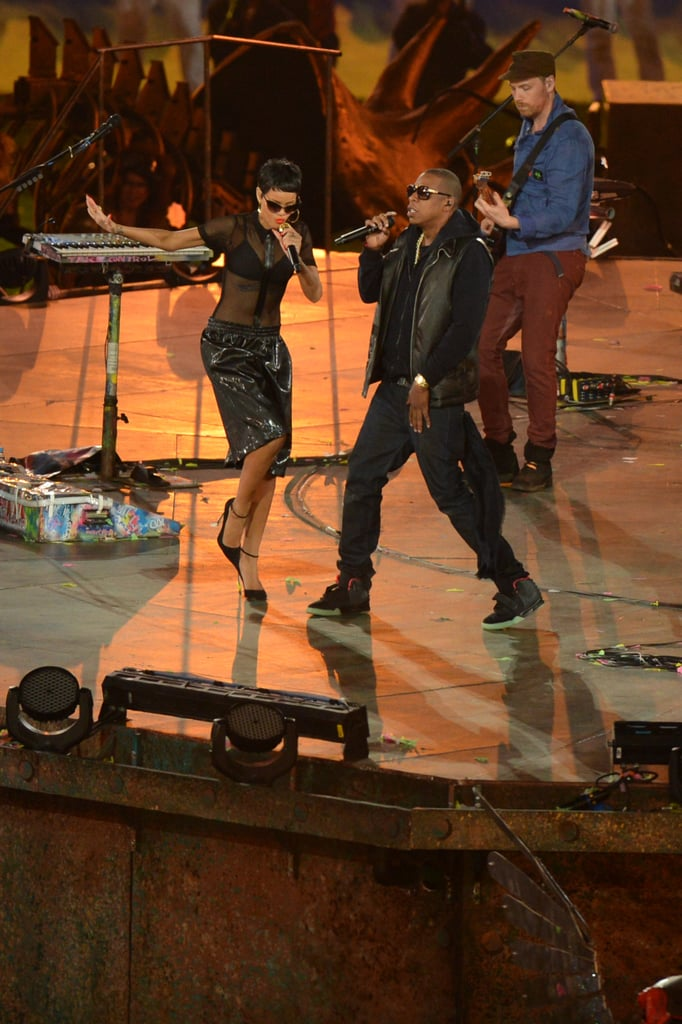 Jay-Z and Rihanna danced on stage together at the London Paralympics closing ceremony.