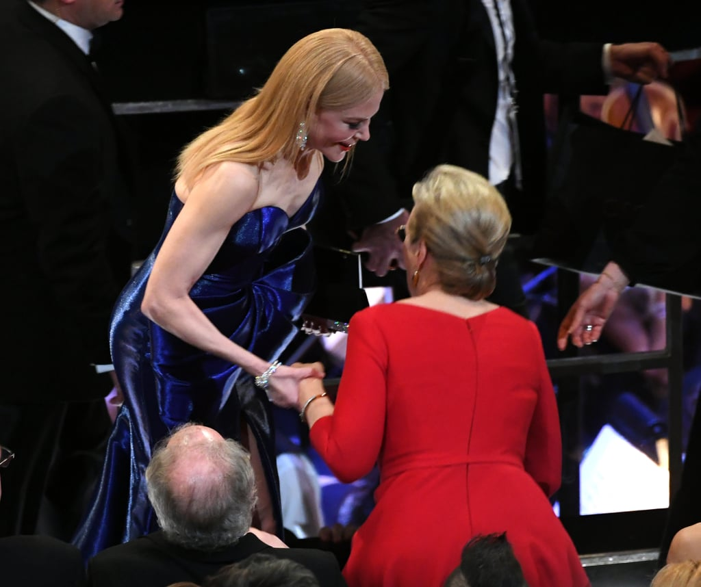 "In case you haven't heard yet, Meryl Streep was recently confirmed to star in season two of HBO's hit Big Little Lies. The actress is set to play Mary Louise Wright, the mother of Alexander Skarsgard's character Perry Wright, and on Sunday, Meryl had an adorable reunion with her onscreen daughter-in-law Nicole Kidman (Celeste Wright) at the Oscars. The two ladies were spotted chatting in the audience — do you think they whispered BLL secrets?  Not much is known about Meryl's character yet, other than that she's ""concerned for the well-being of her grandchildren,"" so we'll just have to wait until the series returns in 2019 to find out. In the meantime, we'll just be over here obsessing over this adorable moment.      Related:                                                                                                           36 Times the Big Little Lies Cast Proved There's Nothing More Powerful Than Women Sticking Together"