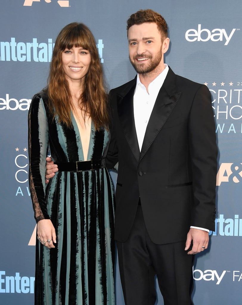 The red carpet got a whole lot hotter when Justin Timberlake and Jessica Biel arrived at the Critics' Choice Awards in LA on Monday. Justin was his usual handsome self in a black tux, and Jessica — who was clearly aware of this — obliged photographers with some solo shots of him, stepping aside to let him pose on his own. Jessica also kept things sexy in a black and teal plunging-neckline dress that coordinated perfectly with Justin's outfit. The couple's latest outing comes a few weeks after the duo was spotted on a sweet stroll in NYC.        Related:                                                                                                           We're Still So Amped Up Over the Looks at Last Year's Critics' Choice Awards