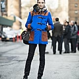 Bold, blue outerwear was the center of attention in this look. Source: Le 21ème | Adam Katz Sinding