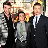 Josh Hutcherson, Liam Hemsworth, and Alexander Ludwig at the Hunger Games premiere in Canada.