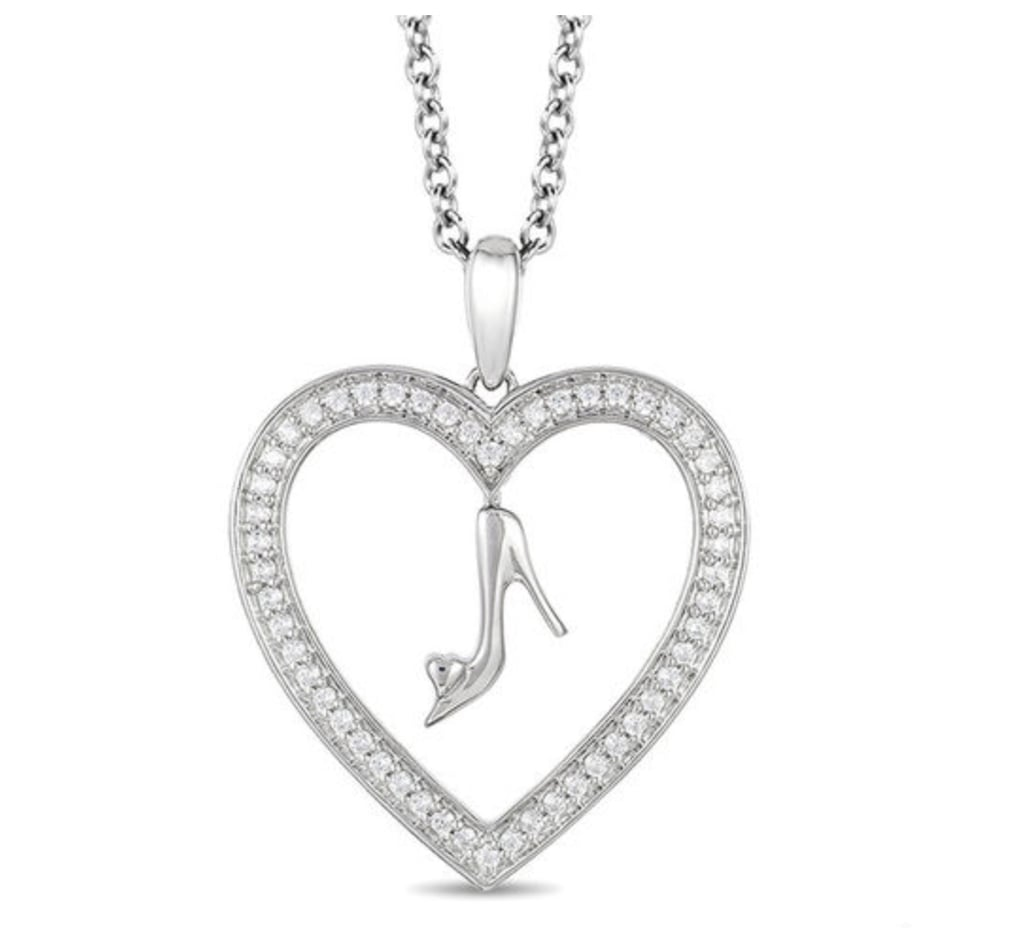 Cinderella diamond glass slipper and heart pendant zales disney cinderella diamond glass slipper and heart pendant aloadofball Image collections