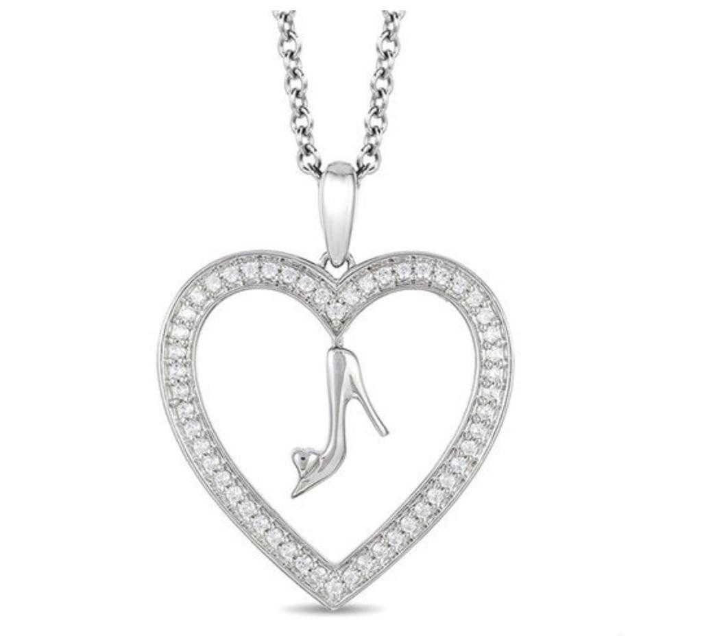 Cinderella diamond glass slipper and heart pendant zales disney cinderella diamond glass slipper and heart pendant aloadofball Gallery