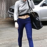 Miley Cyrus wore a black cap and blue pants in LA.