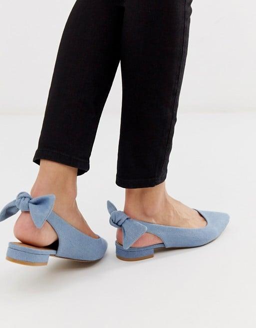 ASOS DESIGN Lizzie Bow Slingback Ballet Flats