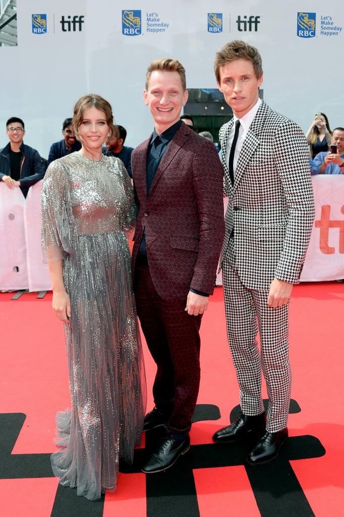 Felicity Jones, Tom Harper, and Eddie Redmayne at The Aeronauts Premiere