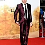 Zac Efron looked dapper in a maroon suit at the Berlin premiere of The Lucky One.