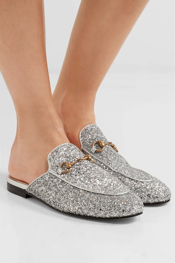 Gucci Princetown Horsebit-Detailed Glitter Leather Slippers