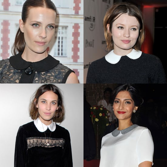 The trend has been embraced on the red carpet as well. Here, Vanessa Traina (top left) wearing Louis Vuitton in July; Emily Browning (top right) — also in Louis Vuitton — in June; Alexa Chung (bottom left) in a ruffled version in April 2011, and Sonam Kapoor (bottom left) in The Row Pre-Fall 2011 in July.