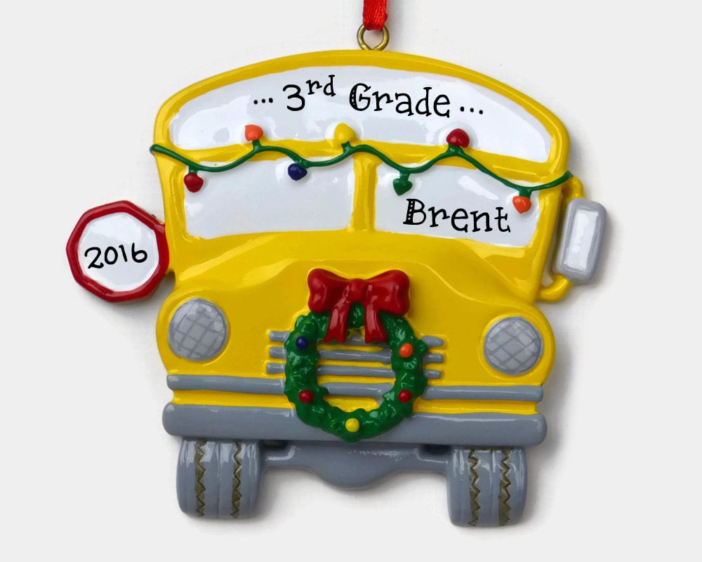 School Bus Grade Ornament  Personalized Christmas Ornaments For Kids And  Families  Popsugar Moms Photo 16