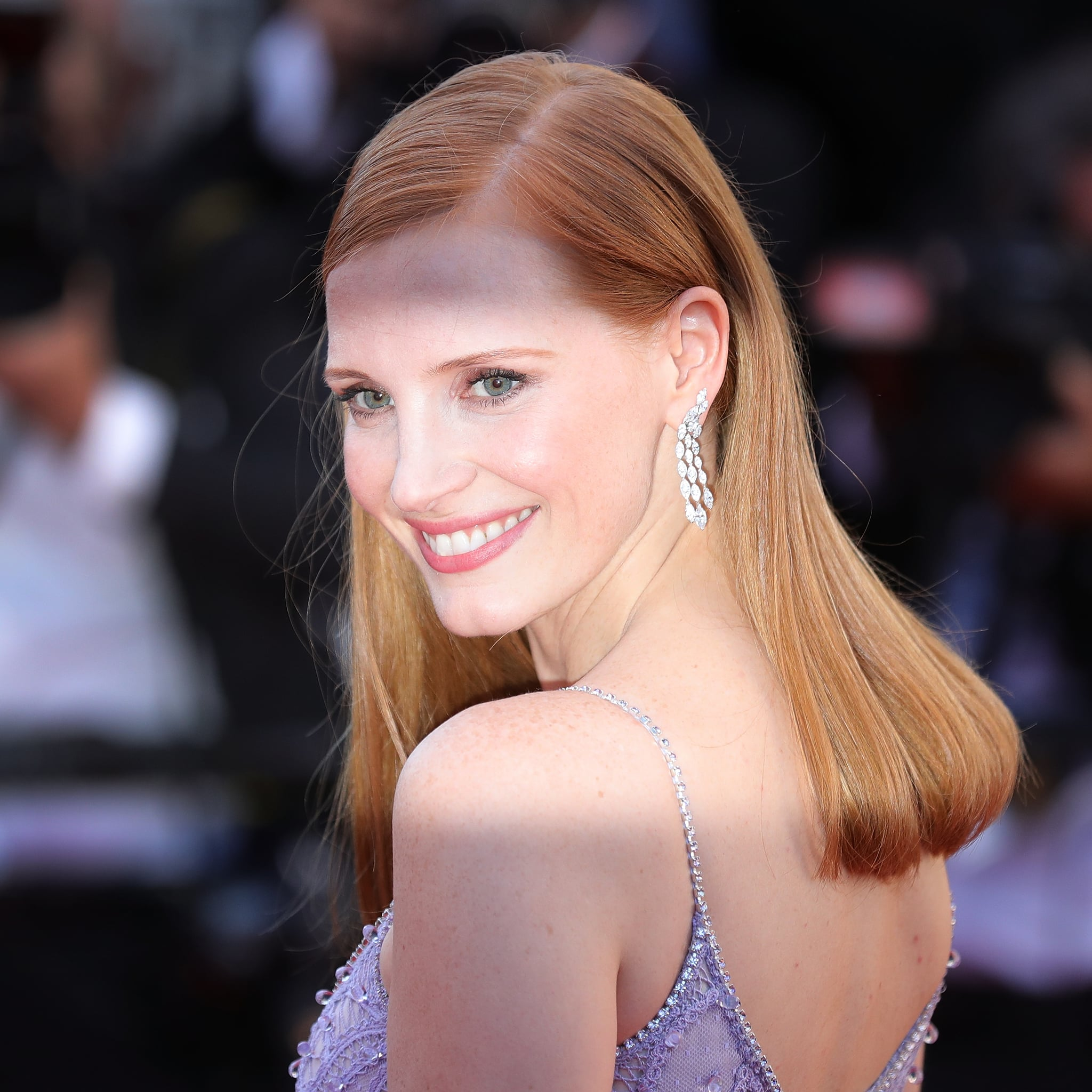 Jessica Chastain With Blunt Bangs In 2014 Jessica Chastain Natural Hair Colour Popsugar Beauty Australia Photo 8