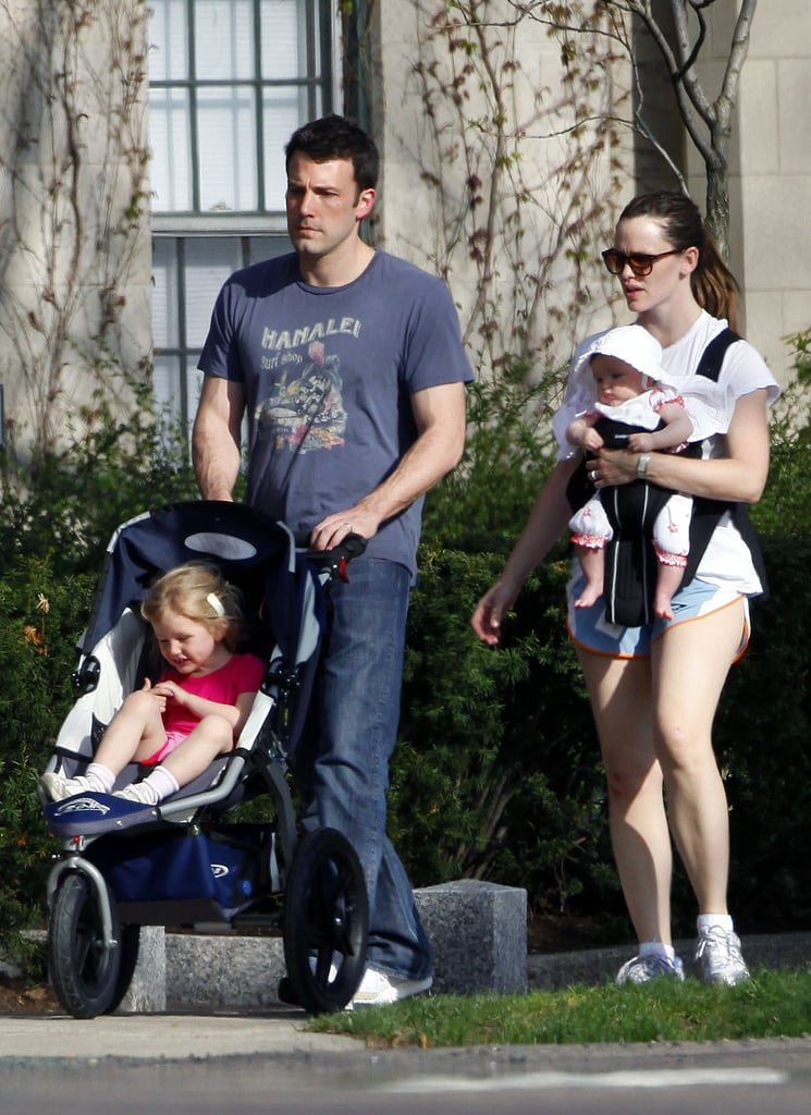 The whole Garner-Affleck family went for an April 2009 stroll around Boston.