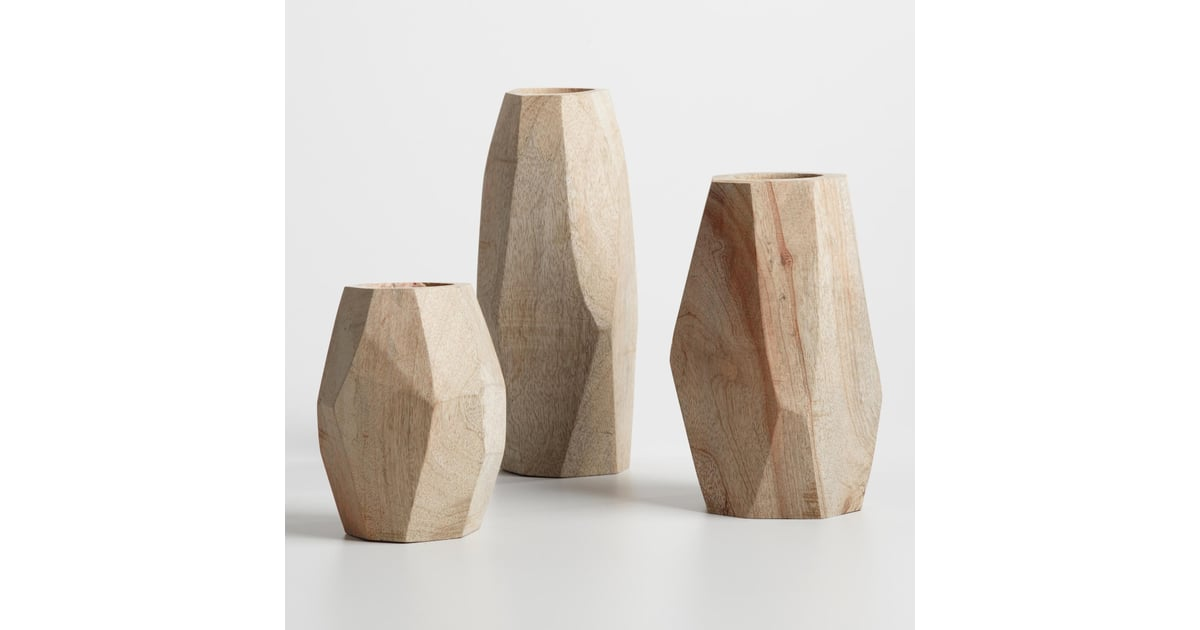 Natural Wood Faceted Vase Collection 13 20 Cost Plus World