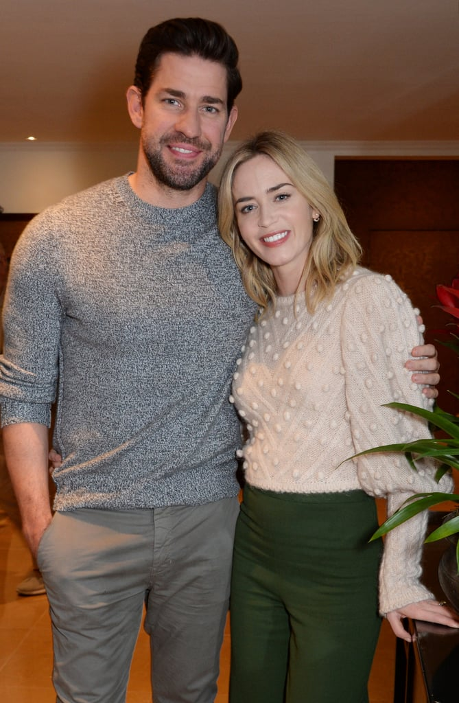 Emily Blunt and John Krasinski never fail to look absolutely adorable together. The couple, who celebrated their eighth wedding anniversary this past Summer, continued their streak of making everyone become completely infatuated with their relationship when they attended the British Academy Film Awards' screening of A Quiet Place on Monday. Emily and John play husband and wife in the movie, and their chemistry certainly translated well into the film. But of course, it still doesn't compare to their real-life romance. They posed for a few pictures at the event, smiling and embracing each other. They also held a Q&A together, and judging by the way Emily is looking at John in some of the pictures, he must have been saying something super deep and psychological. Or she could be thinking about how cute they are together, and is just trying to keep a straight face — you be the judge. View photos of the duo at the screening ahead and feel free to obsess over them unapologetically.