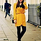 The last time I visited, I threw on a golden yellow wrap dress and teamed it with my patent block heels!