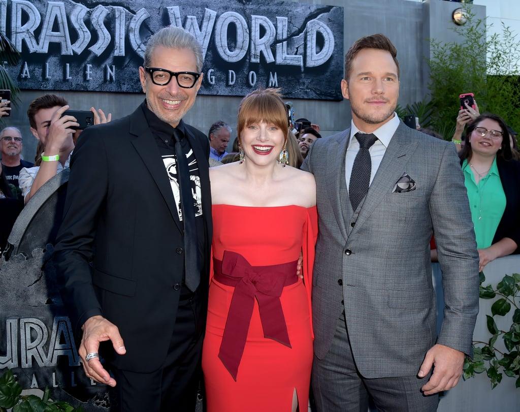 Pictured: Jeff Goldblum, Bryce Dallas Howard, and Chris Pratt