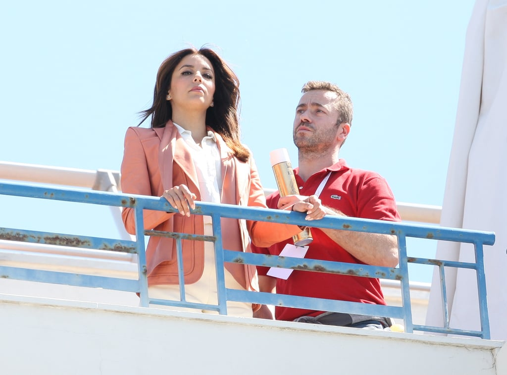 Eva Longoria had her hair styled on the rooftop of a hotel in Cannes for a photo shoot.