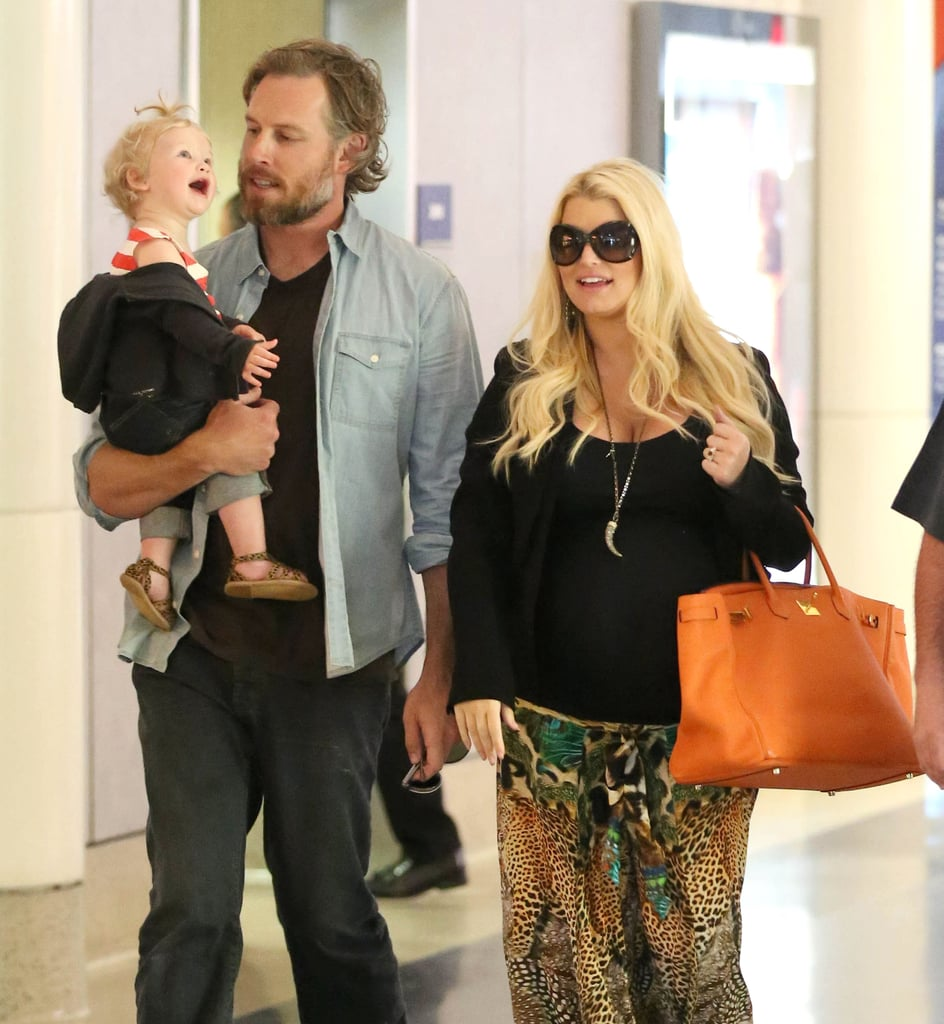 Jessica Simpson, Eric Johnson, and their daughter, Maxwell, landed in LA on Sunday.