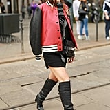 An easy way to wear these statement-making boots without making the look too sexy is by keeping the outfit casual, countering a thigh-high hemline with covered sleeves and a jacket up top.