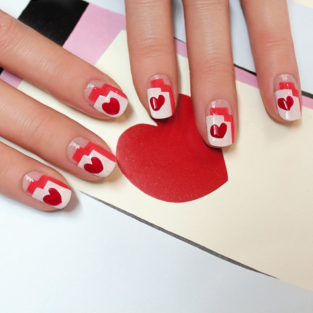 Graphic heart nail art tutorial popsugar beauty prinsesfo Choice Image