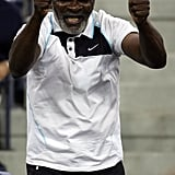 Richard Williams cheering on Serena as she took on Jelena Jankovic during the women's singles finals at the 2008 US Open in New York City.