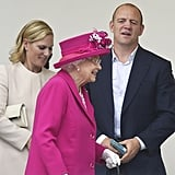 The queen attended a celebration for her 90th birthday with her granddaughter Zara and Zara's husband, Mike Tindall.