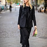 Wear a Blazer Over a Midi Dress and Accessorize With a Newsboy Cap