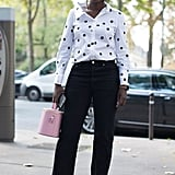 Work a Monochrome Outfit and Add a Pop of Color With Your Bag