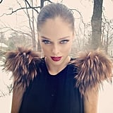 Coco Rocha showed off some Fendi fur shoulders while out in NYC. Source: Instagram user cocorocha