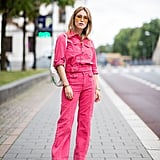 Fake a boiler suit moment with denim coordinates in a bold color